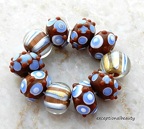 10 Assorted Brown Blue Lampwork Bumpy Sputnick Smooth Rondelle Glass Beads
