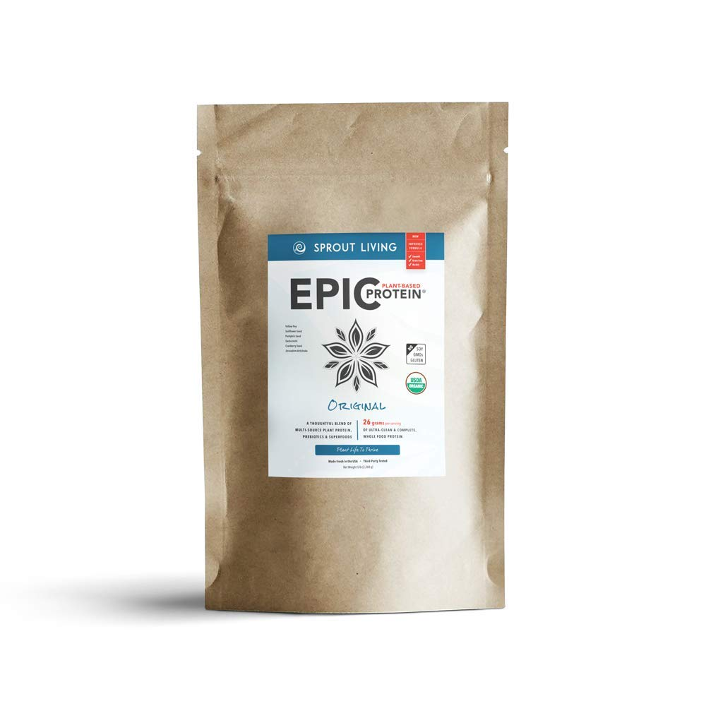 Sprout Living Epic Protein Powder, Original Flavor, Organic Plant Protein, No Additives, Gluten Free, 26 Grams Clean Vegan Protein (5 pounds, 65 Servings)