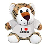 Plush Tiger Toy with I Love Marcin t-shirt (first name/surname/nickname)