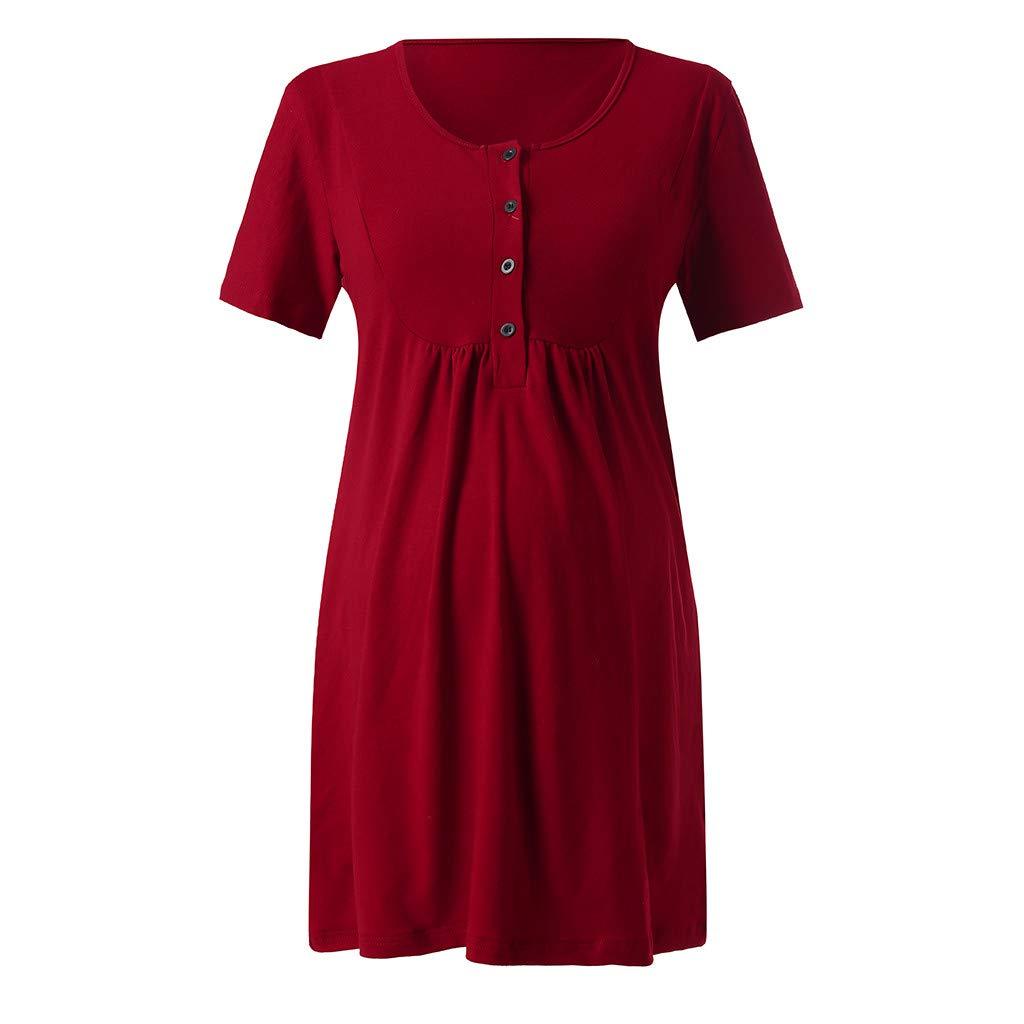 GNYD Womens Nursing Maternity Nightshirts Breastfeeding Clothes Short Sleeve Dress