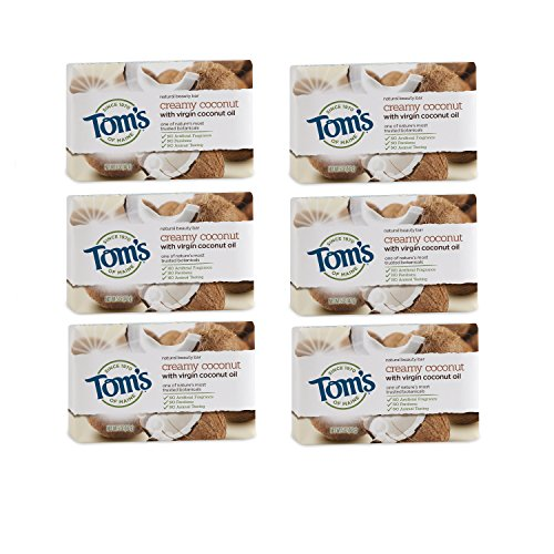 Tom's of Maine Natural Beauty Bar, Bar Soap, Natural Soap, Creamy Coconut with Virgin Coconut Oil, 5 Ounce, 6-Pack from Tom's of Maine