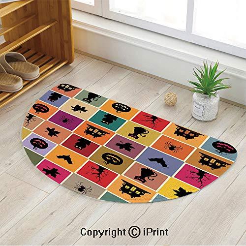 LEFEDZYLJHGO Half Round Non-Slip Kitchen Bedroom Toilet Doormat Floor Rug Mat,Bats Cats Owls Haunted Houses in Squraes Halloween Themed Darwing Art Decorative,47