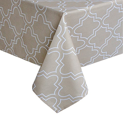 Aoohome 55x55 Fabric Table Cloth, Fabric Stain Resistant Water Repellent Quatrefoil Tablecloth for Holiday Dinner, Wedding & More, Heavy Duty, Machine Washable, Khaki, 55x55 Inch - Beige Tablecloth Square
