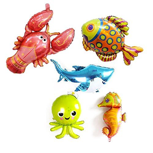 (5 Pack Large Under the Sea Animal Balloons 38inch Cartoon Sea Horse Balloon/Octopus Balloon/Shark Balloon/Tropical Fish Balloons for Kid Birthday Party)