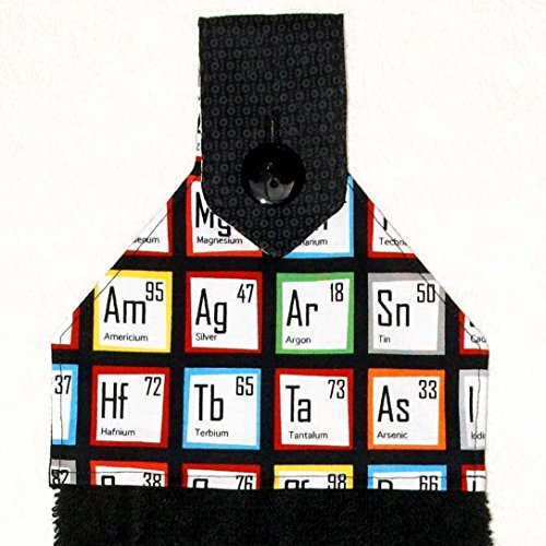 Hanging Bath Hand Towel - Periodic Table - Chemistry - Science - Nerd - Geek - Red & Black Bathroom - Nerd Chic