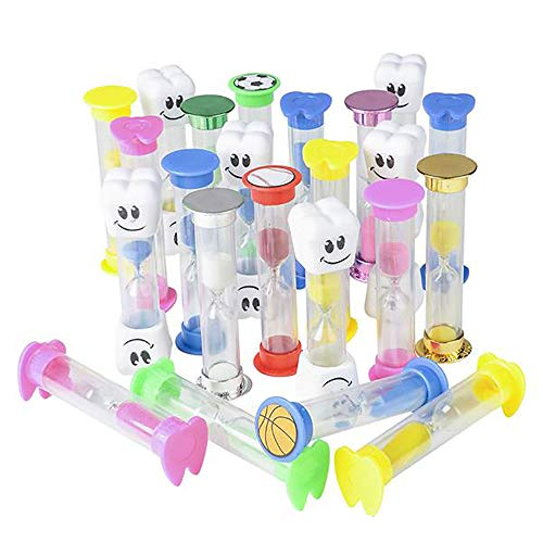 Assorted Tooth Hourglass Toothbrushing Timer- 72 pieces of 2-minute Sand Timekeeper for Kids- Best for Dental Cleaning Kit, Office Giveaways- Proper Toothbrush Trainer at Home or School]()