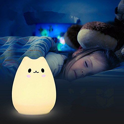Kids Night Light LED Cat Silicone Toy for Baby Nursery Bedroom Lamps 8 - Color 3 Lighting Modes