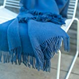LinenMe Simone Merino Wool Throw, French Blue