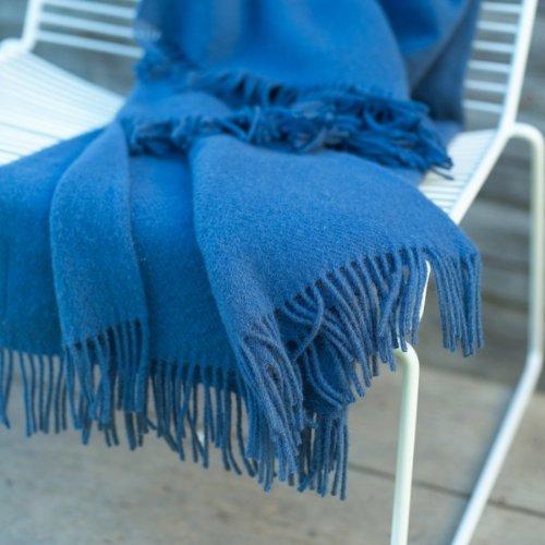 Couverture Laine Bleu Coloris Français Mérinos En Simone rwqSxg7r