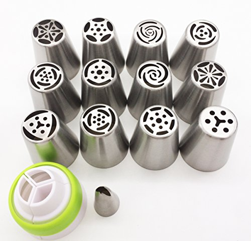 Russian Piping Tips 25PCS/SET, KOOTIPS 12pcs Stainless Steel Large Size Icing Tips 1pcs Leaf Tips 1pcs Brush 10pcs Pastry Bag Syringe Set DIY a Coupler Nozzle by KOOTIPS