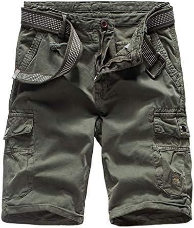 yoyorule Casual Pants Men`s Summer Outdoors Casual Loose Multiple-Pocket Cotton Overalls Shorts Pants
