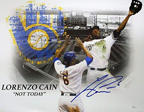Brewers Lorenzo Cain Autographed Signed 16x20 Photo #5 Auto - :Not Today - Memorabilia JSA