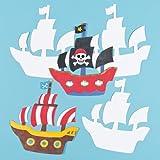 Plantillas de Cartulina con Forma de Barco Pirata para Pintar y Decorar. Manualidades Creativas para Niños Perfectas para Fiestas Infantiles (Pack de 10)