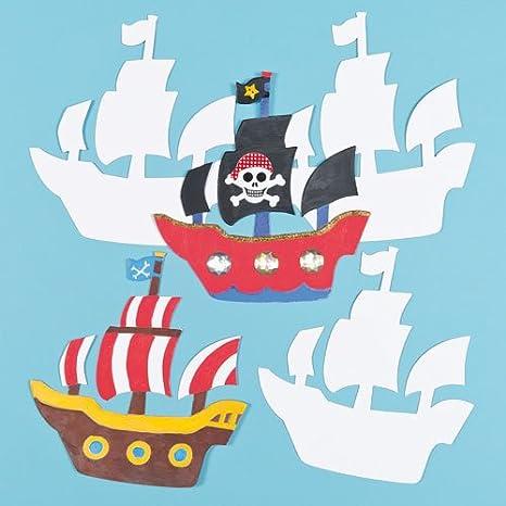 Baker Ross Plantillas de Cartulina con Forma de Barco Pirata para Pintar y Decorar. Manualidades