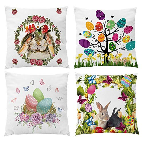Set of 4 Pack Easter Egg Rubbit Bunny Decorative Velvet Pillow Cover Throw Cushion Cover Soft Case for Easter Day Party 18x18 Inch ()