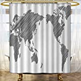 Custom Made Shower Curtains World Map Shower Curtains Waterproof Long Sketchy Striped Continents Cartography Geography Countries Worldwide Art Custom Made Shower Curtain 72