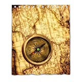 LiFei Business Fashion Vintage compass lies on ancient world map Picture Gaming mouse Custom shower curtain 60''(W) x 72''(H) (12 Holes)