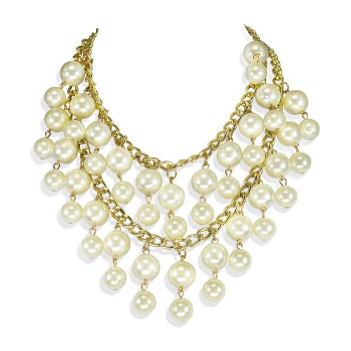 [Womens Luxury Multi Pearls Jewelry Tassel Bib Necklace Chain Bankruptcy Sister] (Easy Halloween Costume To Wear To Work)