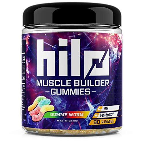 Hilo Muscle Builder Gummies - Advanced Muscle Strength and Recovery with HMB and GanedenBC30 Probiotic - Sour Gummy Worm Flavor, 90 count
