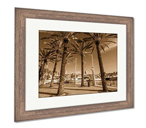 Ashley Framed Prints Long Beach Marina and City Skyline Long Beach Ca, Wall Art Home Decoration, Sepia, 26x30 (Frame Size), Rustic Barn Wood Frame, AG5620069