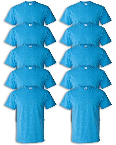 - Gildan mens Heavy Cotton 5.3 oz. T-Shirt(G500)-HEATHER SAPPHIRE-M-10PK