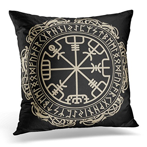 over Black Celtic Viking Design Magical Runic Compass Vegvisir in the Circle of Norse Runes and Dragons Tattoo Decorative Pillow Case Home Decor Square 18x18 Inches Pillowcase ()