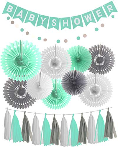 MEANT2TOBE Mint Grey Baby Shower Decorations/Mint Grey White Elephant Baby Shower Supplies - Mint Bridal Shower Decorations/Mint Grey Birthday Party Decor