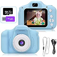 AMERTEER Kids Toy Digital Camera with [ 32 GB Memory Card and Card Reader ] Gifts for Child Boys Girls,Mini Rechargeable Children Shockproof Digital Camcorders Little Kid Toys Gift 1080P 5MP (blue)