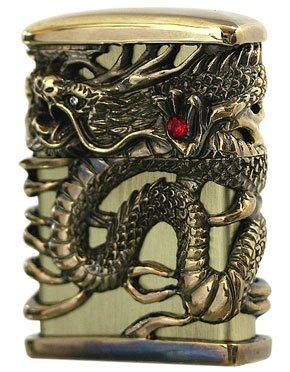 - ZIPPO Oil lighter Celestial Dragon Brass Gold Full Metal Jacket Japan Tenryu