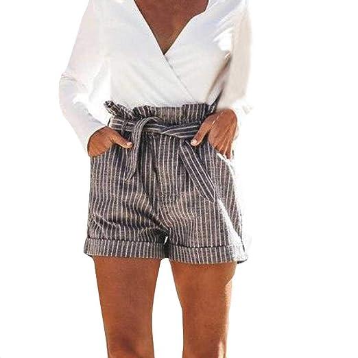 Amazon.com: MOSERIAN Womens Shorts Fashion Stripe Print ...