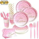 168 Piece Pink and Gold Party Supplies | Compostable Dinnerware Set Services 24 | Includes Plastic Knive Spoons Forks Paper Plates Napkins Cups Straws | Birthday Bridal Baby Shower Bachelorette Girl