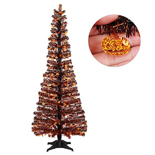 Joy-Leo 5 Foot Shiny Pumpkin Halloween Christmas Tree with Reflective Sequins, Collapsible & Reusable Black Tinsel Christmas Tree for Halloween Decoration with Plastic Stand