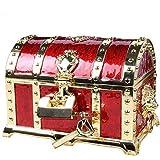 アンティーク RPG 宝箱 海賊 財宝 鍵2本付き ジュエリーボックス 小物入れ アクセサリーケース (紅色)