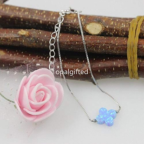 (Fire Light Blue Synthetic Flower Opal Bracelets | with 925 Sterling Silver Clover Bracelets (10Mm))