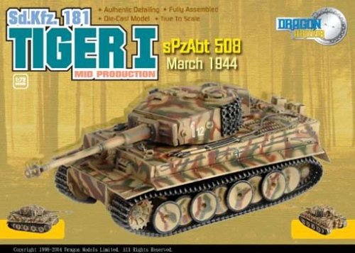 Dragon Armor - 2004 - Tiger I - Mid Production German Tank - SpzAbt 508 - March 1944 - WW 2 - SD.Kfz. 181 - Die Cast - 1:72 Scale - W/ Display Case - Limited Edition - Collectible