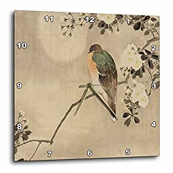3dRoseImage of Vintage Style Asian with Bird On Floral Branch Wall Clock, 13 x 13
