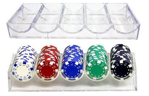 Brybelly 100 Chip Clear Acrylic Poker Chip Rack - Include 5 Bonus Acrylic Chip Spacers!