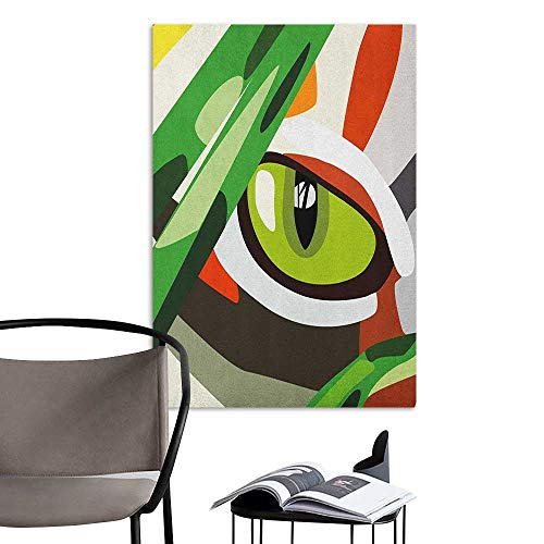 Decals for Home Room Decoration Eye Wild Feline Cat Tiger Eye Behind Bushes Abstract Nature Dangerous Predator Vibrant Art Multicolor Window Wall Sticker W16 x H20