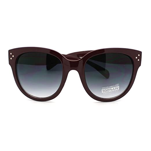 7cfec59164 Horn Rimmed Round Sunglasses with Signature 3 Metal Dot Front Side Trims