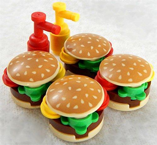 Mcdonalds Toy Figure - Lego Burgers Hamburger Ketchup Mustard Minifigure Figure Mcdonalds Kids Toys Lunch Play Food