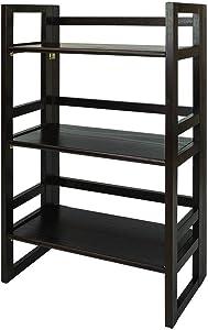 Casual Home 3-Tier Folding Student Bookcase in Espresso Finish