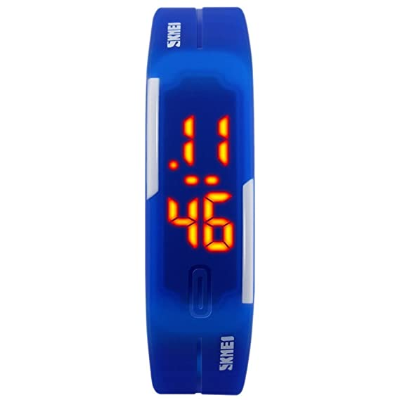 SKMEI - Reloj Electrónico de Pantalla LED Reloj Digital Resistente al Agua Impermeable Banda de PU Ajustable para Estudiantes Chicos Chicas - Azul: ...