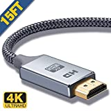 HDMI Cable 15 Ft,Capshi High Speed 18Gbps HDMI 2.0 Cable,4K HDR, 3D, 2160P, 1080P, Ethernet - 28AWG Braided HDMI Cord - Audio Return Compatible TV, PC, Blu-Ray Player, Apple TV