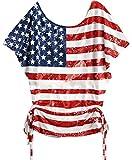 WAYA-Women Fashion USA Flag Printed Loose Blouse t Shirts 1 2XL