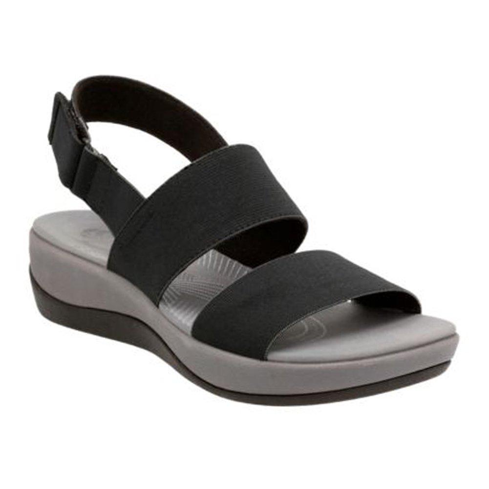 CLARKS Women's Arla Jacory Wedge Sandal, Black Solid, 9 M US by CLARKS