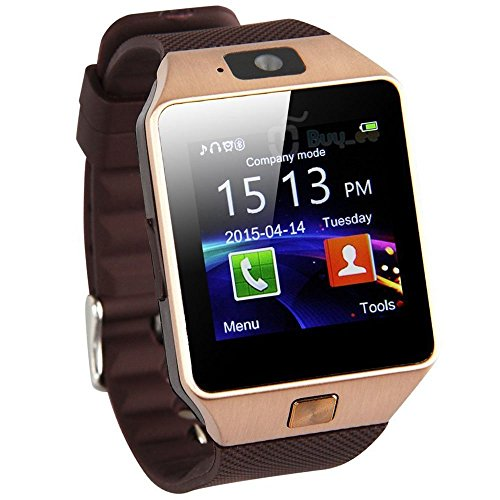 Generic DZ09 Bluetooth Smart Watch with Camera for iPhone and Android Smartphones – Golden