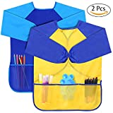 Kids Art Smock, SGM Waterproof Artist Art Paint Apron With 3 Large Pockets And Long Sleeves For Kids, Children Age 2-6 - For Painting, Baking, Feeding [2-Pack] (Paints and Brushes not included)