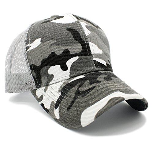 LAFSQ Plain Mesh Back Trucker Hat Snapback Baseball Cap (Camo/Lt Grey) (Grey Camo Cap)