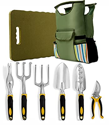 8 Piece Garden Tools Set-Complete Set of Outdoor Gardening Tools Including Extra-Large Kneeling Mat and Gardening Bag