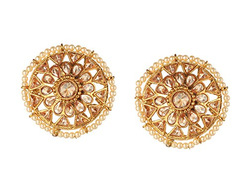 Bindhani Bollywood Wedding Indian Over Size Round Pearl Studs Bali Gold Plated Earrings Jewelry For Women ()